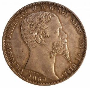 ; 5 Lire 1854 T; AG; Gr.:25; ...