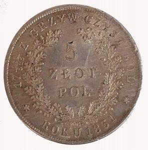 5 Zloty 1831; AG; gr:15.2 KM ...