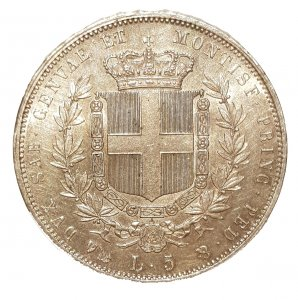 5 Lire 1852 Genova; AG; ...